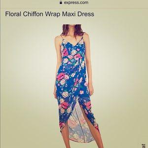 Floral Chiffon Wrap Maxi Dress